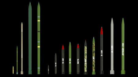 Artillery rockets. 3d render.