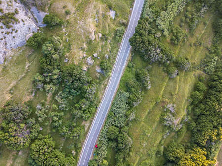 Aerial view of a straight road surrounded by plants and greenery, Pag island, Croatia. Wild nature