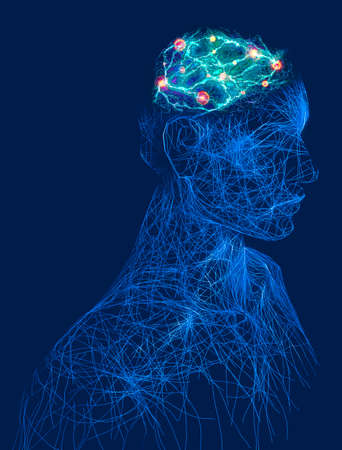 Digital consciousness, brain potential. Ideas and innovation. Free your mind. Synapses and artificial intelligence. Cloud and globalization. 3d render. Human anatomy and brain, side view.