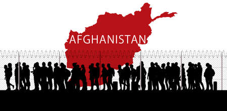 Afghanistan refugee emergency, escape from cities to reach the borders with other states. Taliban danger. Hospitality. Column of migrants. Fence and barbed wire. Black and white silhouette