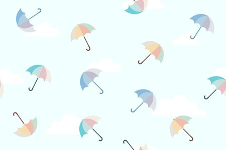 Seamless pattern umbrella motifs with clouds background