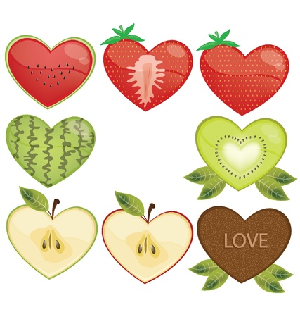 Fruits heart vector illustration Vector