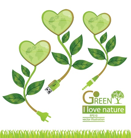 Jack plug  Usb cable  Plug  Tree design  Go green  Save world  vector illustration  Vector