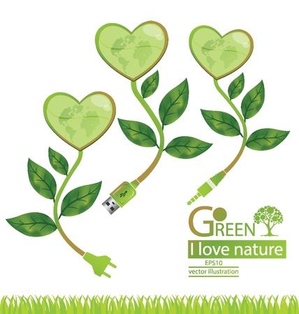 usb cable: Jack plug  Usb cable  Plug  Tree design  Go green  Save world  vector illustration
