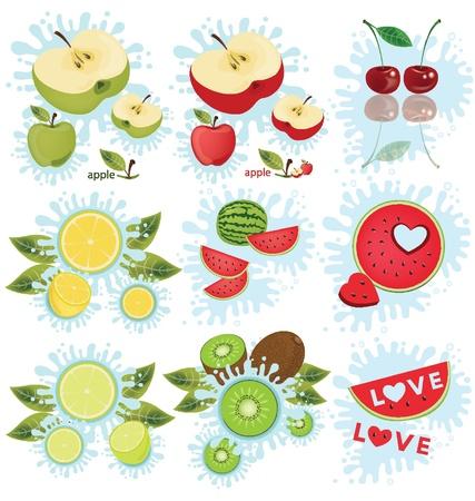 green apple slice: apple  cherry  lemon  watermelon  kiwi  Fruit splash vector illustration
