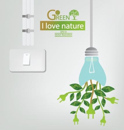 Schakel Groene concepten besparen energie sparen wereld vectorillustratie