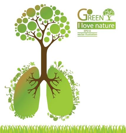 think green: Ir verde Guardar ilustraci�n vectorial mundo