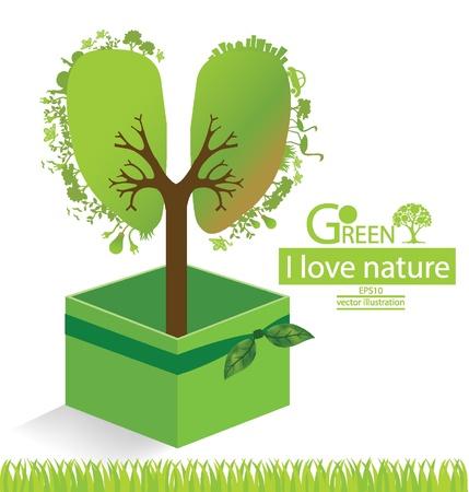 Green gift box  Tree design  Go green  Save world  vector illustration  Vector