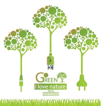 Jack plug  Usb cable  Plug  Tree design  Go green  Save world  vector illustration  Vector