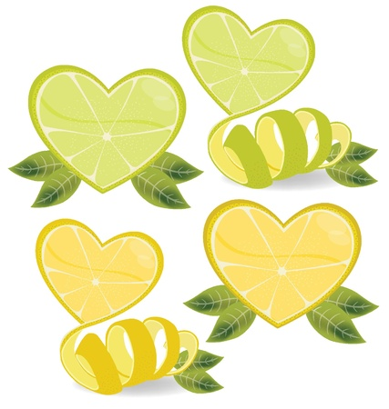 Shape of heart  love lemons vector illustration