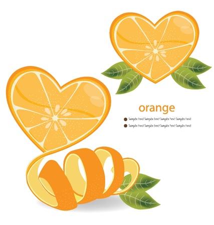 Shape of heart  love orange vector illustration