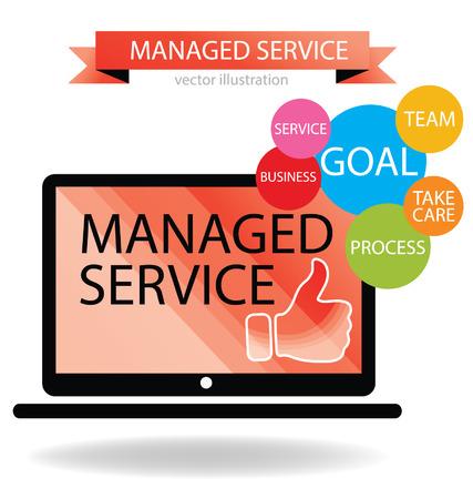 Бизнес-концепция Managed служба векторные иллюстрации Иллюстрация