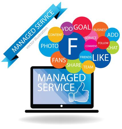 computer service: Business-Konzept Managed Service-Vektor-Illustration