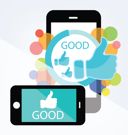 Social media  Hand signs vector  Good concept  Ilustração