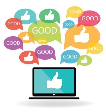 social media marketing: Social media  Hand signs vector  Good concept  Illustration