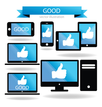 Social media  Hand signs vector  Good concept  Illustration