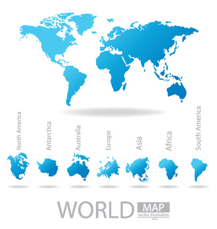 antartide: Africa Antartide Asia Australia Europa Nord America Sud America Mappa del mondo illustrazione vettoriale