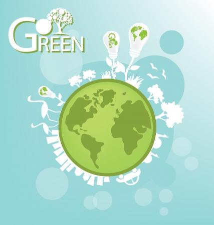Go Green Сохранить мир векторные иллюстрации