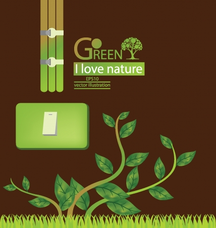 Plug  Green concepts save energy  save world  vector illustration