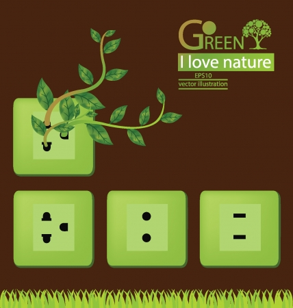 disconnect: Plug  Green concepts save energy  save world  vector illustration