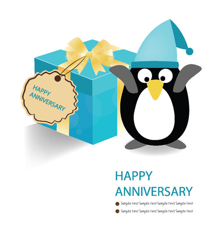Penguin and blue gift box on white background  vector illustration  Illustration