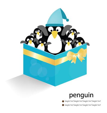 Penguin  blue gift box on white background  vector illustration  Vector