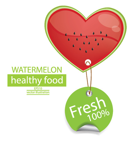 Label  Fruit  Shape of heart  love watermelon vector illustration  Illustration