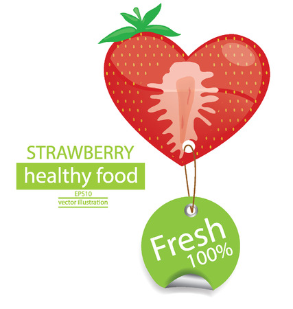 Label  Fruit  Shape of heart  love strawberry vector illustration