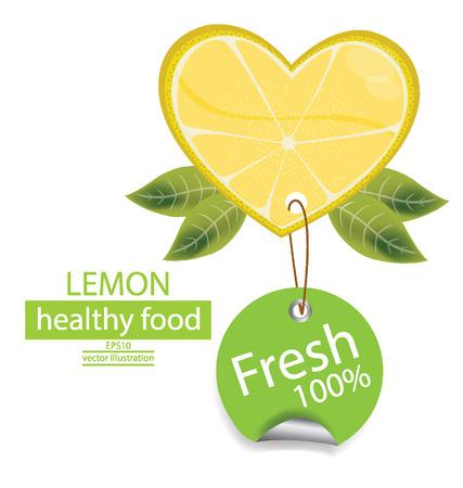 Label  Fruit  Shape of heart  love lemons vector illustration