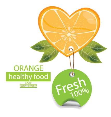 Label  Fruit  Shape of heart  love orange illustration  Vector