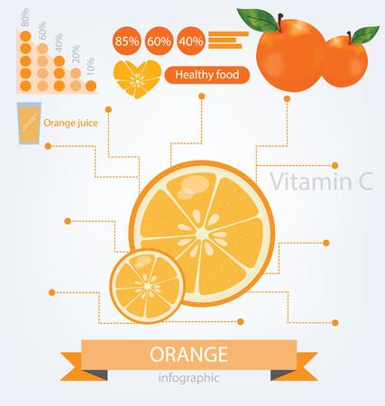 Оранжевые инфографика фрукты иллюстрации