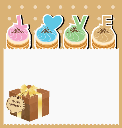 Card  Template design  Brown gift box  Cake illustration Vector