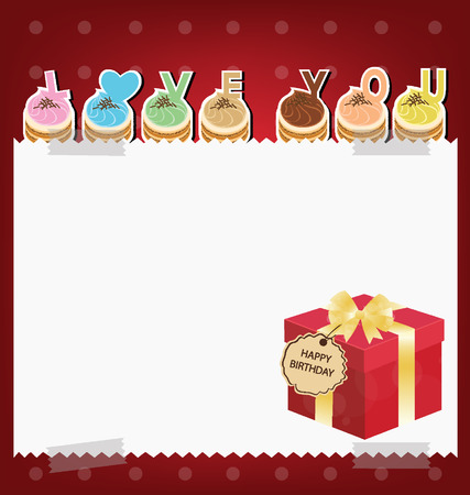 Card  Template design  Red gift box Cake  illustration Vector