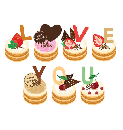 Love you  Happy birthday  cake illustration Stock Vector - 24830288