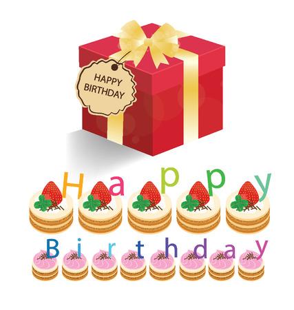 pastel feliz cumplea�os: Tarta de cumplea�os feliz y caja de regalo ilustraci�n