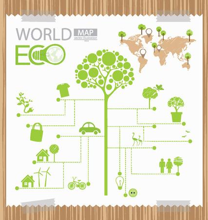 Инфографики, Дерево, Схема, Go Green Concept, карта мира векторные иллюстрации