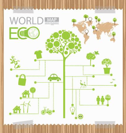 Infographic,  Tree,  Diagram,  Go green concept,  World Map vector Illustration