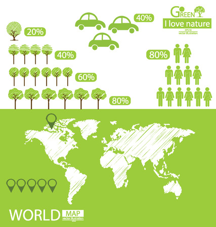 save tree: Infographic,  World Map,  Tree,  Car,  Go green vector Illustration