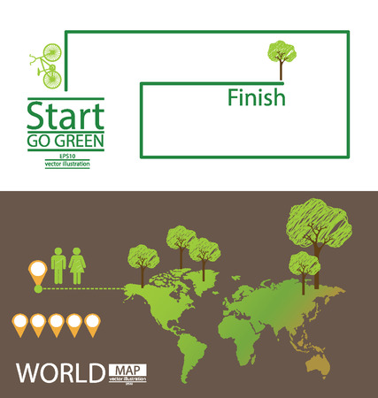 Infographic,  World Map,  Tree,  Car,  Go green vector Illustration Stock Vector - 24862444