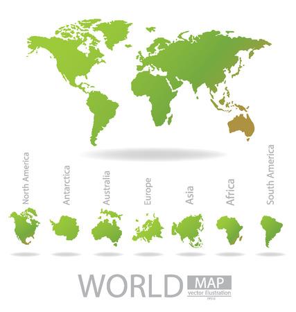 Africa, Antarctica, Asia, Australia, Europe, North america, South america, World Map vector Illustration Stock Vector - 24862446