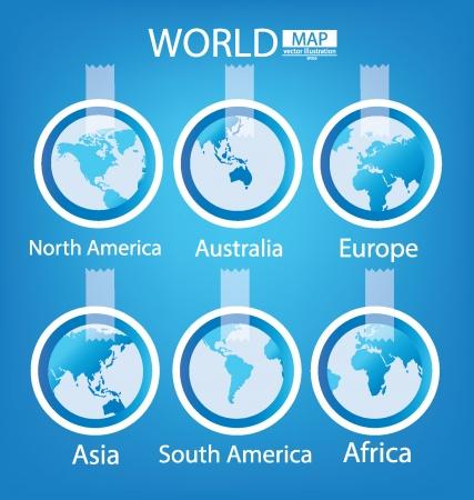 ステッカー、アフリカ、アジア、オーストラリア、ヨーロッパ、北アメリカ、南アメリカ、世界地図のベクター イラスト