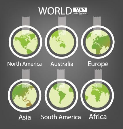 south  america: Pegatina, África, Asia, Australia, Europa, América del Norte, América del Sur, Mapa mundial vector Ilustración