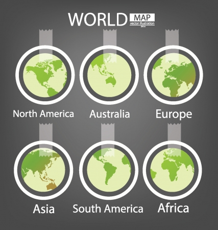 Sticker,  Africa,  Asia,  Australia,  Europe,  North america,  South america,  World Map vector Illustration