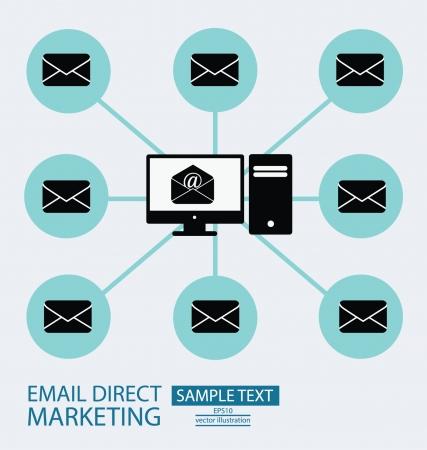 direct marketing: email direct marketing, communication concept, vector Illustration  Illustration