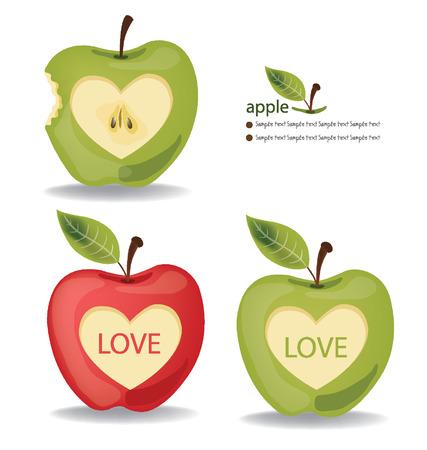 bite apple: Love Apple vector illustration