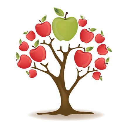 bite apple: Apple Tree vector illustration