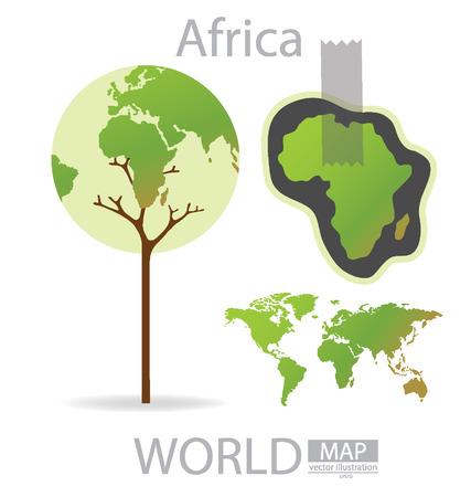 Дизайн Дерево, Африка карта мира векторные иллюстрации