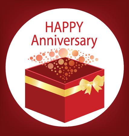 red gift box: Happy anniversary,  Red gift box