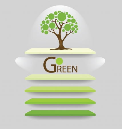 Go green concept,  shelf for exhibit Vector illustration  Vector