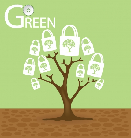 Go green concept,  Tree vector illustration  Vector